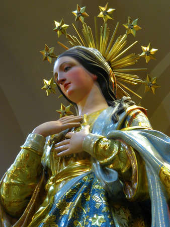 malta: A detail of the statue of Our Lady of The Lilies in Maqbba, Malta.