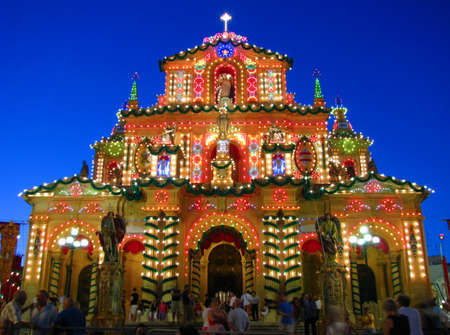 The church of Siggiewi in Malta brightly lit for the feast of its patron saint, Saint Nicholas  Stock Photo - 14242450