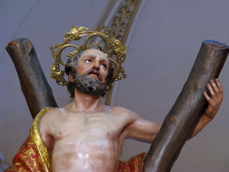 andrew: A detail of the statue of Saint Andrew in Luqa, Malta