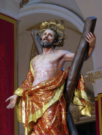A detail of the statue of Saint Andrew in Luqa, Malta  photo