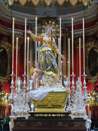 assumption: The statue of The Assumption of the Blessed Virgin Mary, at Ghaxaq, Malta. Editorial