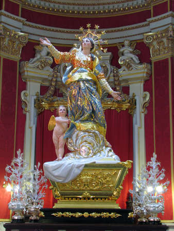 The statue of The Assumption of the Blessed Virgin Mary, at Ghaxaq, Malta. Editorial