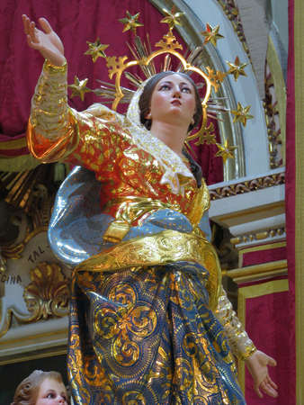 A detail of the statue of The Assumption of the Blessed Virgin Mary, at Ghaxaq, Malta.