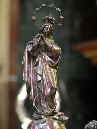 immaculate conception: A silver statuette of The Immaculate Conception in Cospicua, Malta.