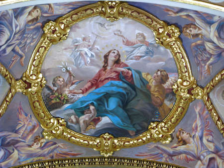 blessed trinity: A painting depicting The Coronation of The Blessed Virgin Mary in Sliema, Malta.