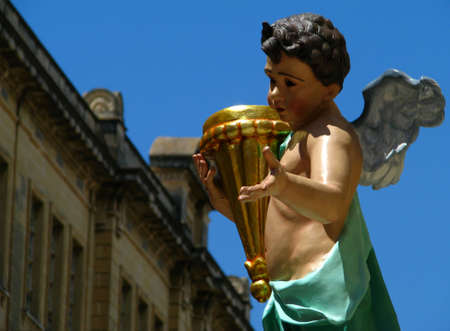 marsa: A decorative angel embellishing a street in Marsa, Malta during the feast of The Most Holy Trinity  Stock Photo
