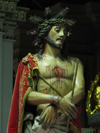 scourging: A detail of a statue depicting Jesus being crowned with thorns in Cospicua, Malta. Stock Photo