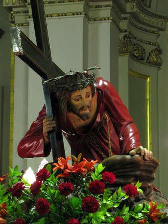 flagellation: The statue of Jeus when He fell under the cross in Cospicua, Malta.