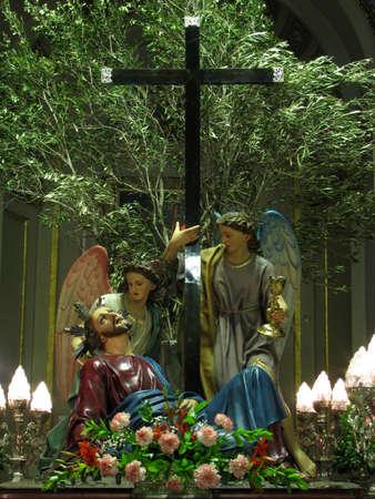 flagellation: The statue of Jesus in the garden of Gethsemani in Cospicua, Malta.