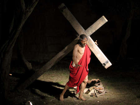 flagellation: An exhibition of The Passion of Christ with  life size statues in a ditch in Vittoriosa, Malta