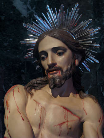 flagellation: A detail of the statue of The Flagellation of Jesus in Senglea, Malta
