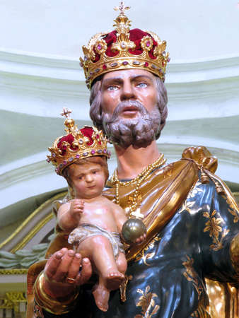 The crowned statue of Saint Joseph in Rabat, Malta