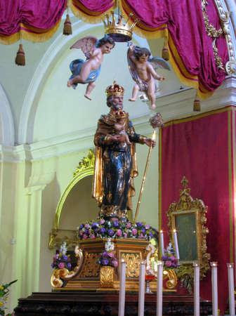 putative: The crowned statue of Saint Joseph in Rabat, Malta