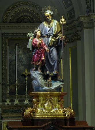 adoptive: The statue of Saint Joseph in Cospicua, Malta  Editorial