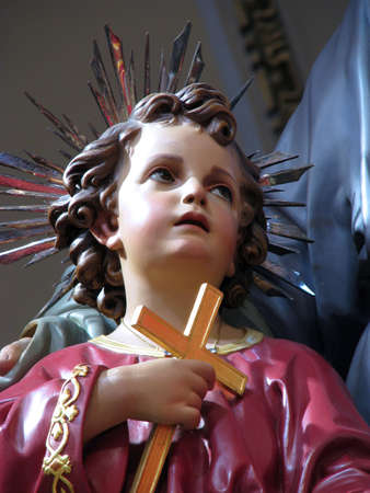 adoptive: A detail of Baby Jesus from a statue Saint Joseph in Cospicua, Malta