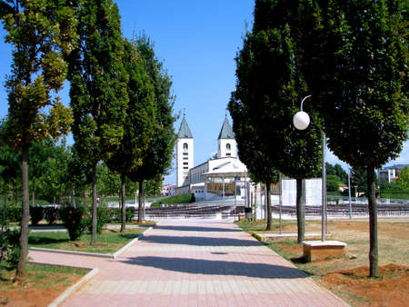 apparition: A road leading to Saint James church in Medjugorje, Bosnia - Herzegovina  Stock Photo