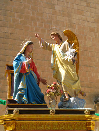 angel gabriel: A statue of The Annunciation of Our Lord Jesus to The Blessed Virgin Mary by the Angel Gabriel in Balzan, Malta