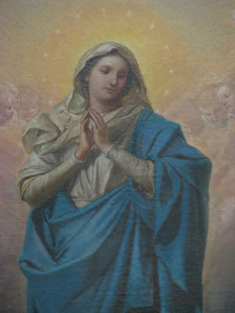 immaculate: A detail of a painting of The Immaculate Conception in Saint Paul s Bay, Malta  Editorial