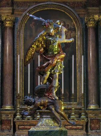 The statue of Saint Michael in Valletta, Malta