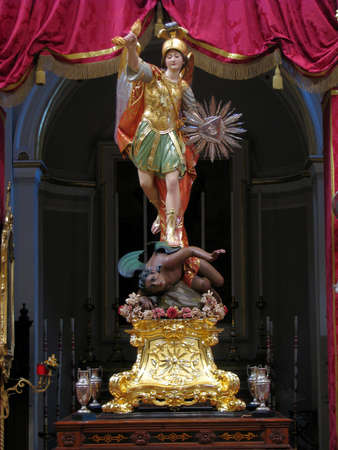 The statue of Saint Michael in Qormi, Malta