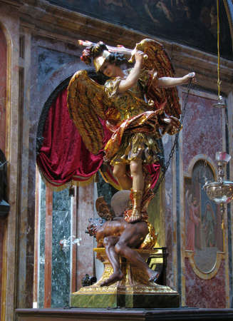 The statue of Saint Michael in Valletta, Malta