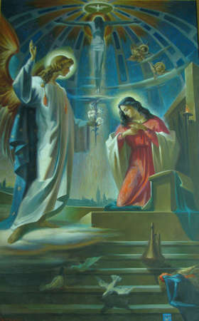 A painting depicting The Anunciation in Vittoriosa, Malta