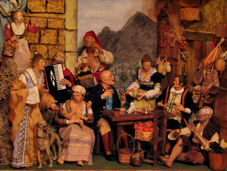 christmas tide: Scenes from a Neapolitan crib in Ibrag, Malta  Stock Photo