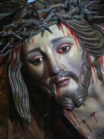 scourging: A detail of the statue of Jesus when He fell under the cross in Cospicua, Malta