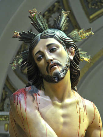 scourging: A detail of the statue representing The Scourging of Jesus at the Pillar in Cospicua, Malta