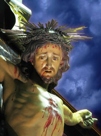 scourging: A detail of a statue of Our Crucified Lord at Cospicua, Malta
