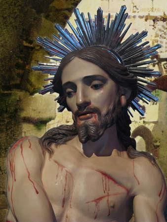 flagellation: A detail of the statue of The Flagellation of Jesus Christ at Senglea, Malta  Stock Photo