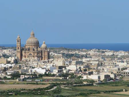 parish: The parish church and village of Xewkija in Gozo, Malta