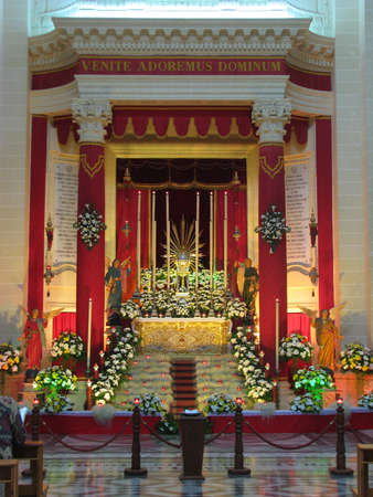 repose: The Altar of Repose beautifully adorned at the Parish Church of Xewkija in Gozo - Malta