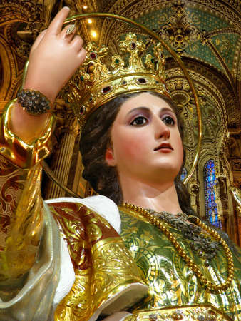 A detail of the statue of Saint Catherine at Zejtun, Malta