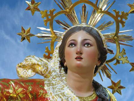 assumption: A detail of a statue of Saint Mary at Ghaxaq, Malta  Stock Photo