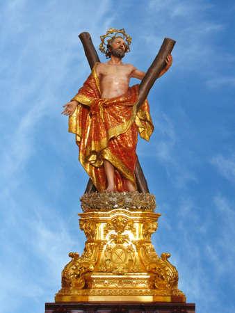 andrew: A statue of Saint Andrew at Luqa, Malta  Stock Photo