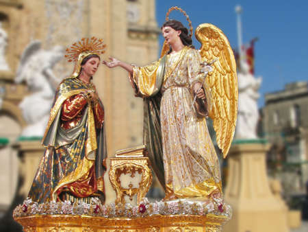 incarnation: A statue representing The Annunciation of Our Lord Jesus Christ at Balzan, Malta  Stock Photo