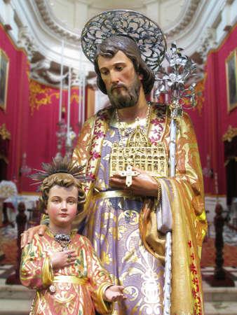 A statue of Saint Joseph at Kalkara, Malta