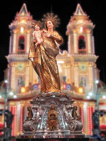 our lady: A statue of Our Lady of Graces at Zabbar, Malta