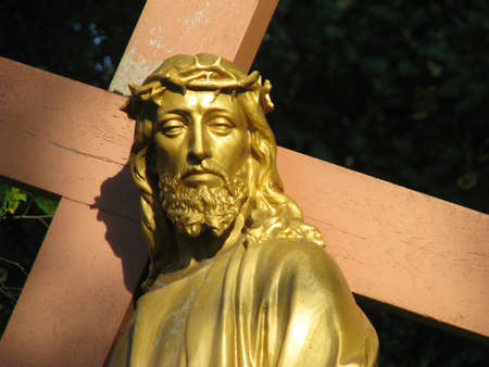 A detail of the statue of Our Lord Jesus Christ that forms part of a group of statues representing the 8th Station of the Cross at Lourdes, France.