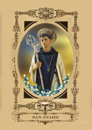 saint bernard: Una statua di San Bernardo a Kirkop, Malta. Archivio Fotografico