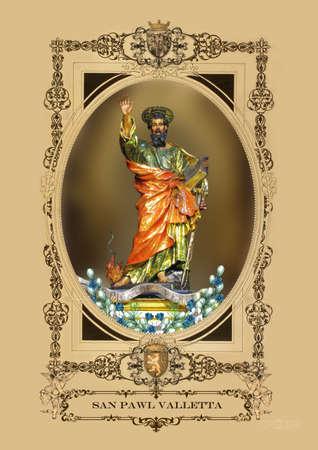 apostle paul: A statue of the apostle Saint Paul at Valletta, Malta. Stock Photo