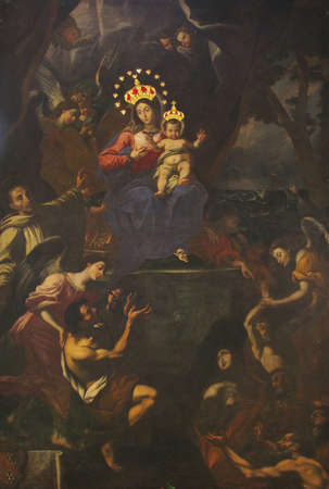 our: A painting of Our Lady of Graces at Zabbar, Malta. Stock Photo