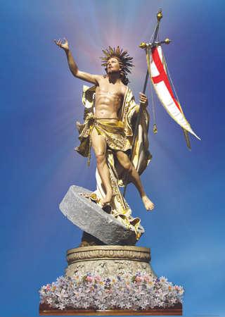 redemption: The statue of The Risen Christ at Zejtun, Malta.