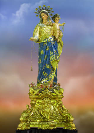 our: A statue of Our Lady of the Rosary at Ghaxaq, Malta.