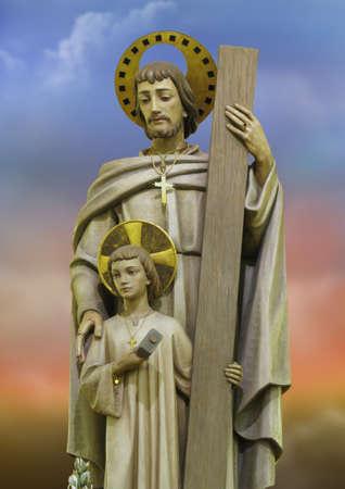 A detail of a statue of Saint Joseph the Worker at Birkirkara, Malta.