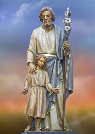 A statue of Saint Joseph at Manikata, Malta. Stock Photo