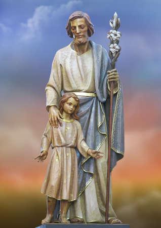putative: A statue of Saint Joseph at Manikata, Malta. Stock Photo