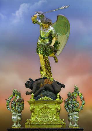 michael the archangel: A statue of the Archangel Michael at Zabbar, Malta. Stock Photo