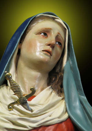 our lady of sorrows: A detail of a statue of Our Lady of Sorrows at Valletta, Malta.